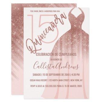 Pink Rose Gold Glitter Dress Español Quinceañera