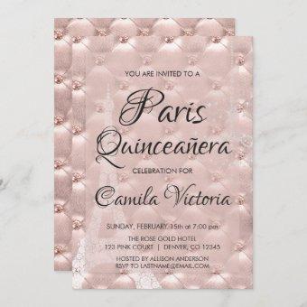 Pink Rose Gold Paris Quinceañera Celebration