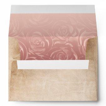 Pink Rose Gold Rustic Parchment Return Address Envelope