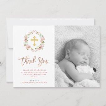 Pink Roses and Rose Gold Script | Photo Baptism Thank You
