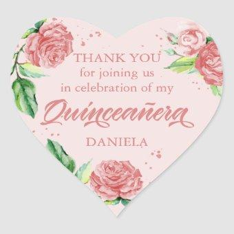Pink Roses Thank You Watercolor Floral Heart Sticker
