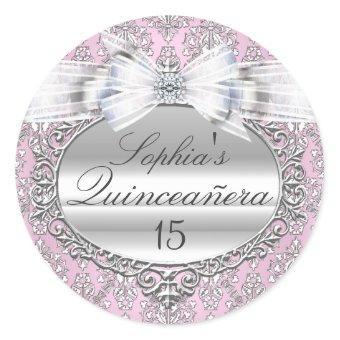 Pink & Silver Bow Sticker