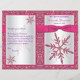 Pink Silver Glitter Snowflakes Quinceañera Program