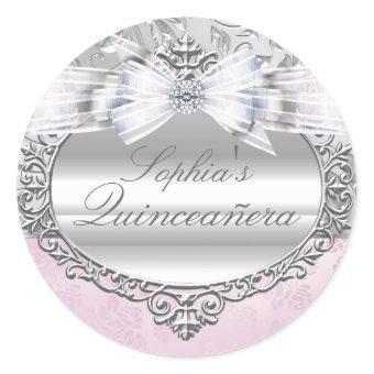 Pink & Silver Rose Sticker
