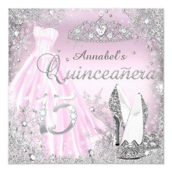 Pink & Silver Sparkle Dress & Tiara Quinceanera Invitations
