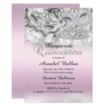 Pink Silver Sparkle Masquerade Invite