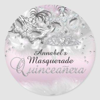 Pink Silver Sparkle Masquerade Sticker