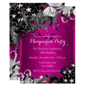 Pink Sparkle Magical Night Masquerade Party Invite