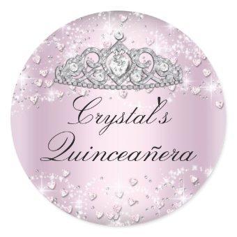 Pink Sparkle Tiara & Hearts Sticker