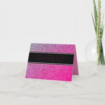Pink Sparkles Thank You Note
