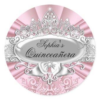 Pink Tiara & Damask Sticker