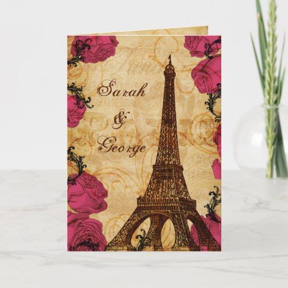 Pink vintage eiffel tower Paris thank you
