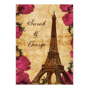 Pink vintage eiffel tower Paris thank you