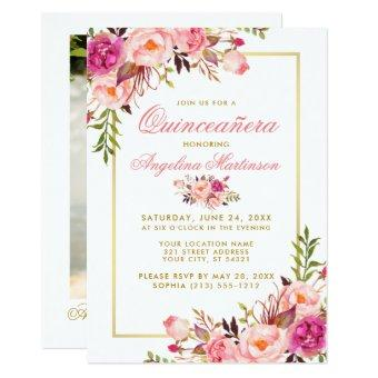 Pink Watercolor Floral Photo Gold