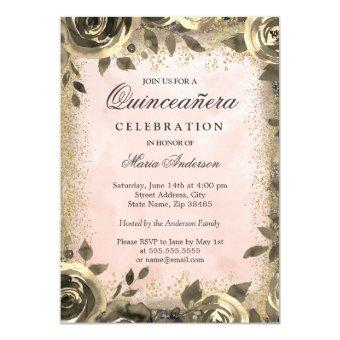 Pink Watercolor Gold Glitter Floral
