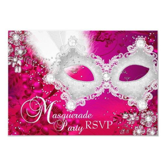 Pink White Sparkle Mask Masquerade Party RSVP