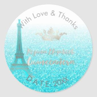 PixDezines Blue Eiffel/Sweet 15/DIY Thank You Classic Round Sticker