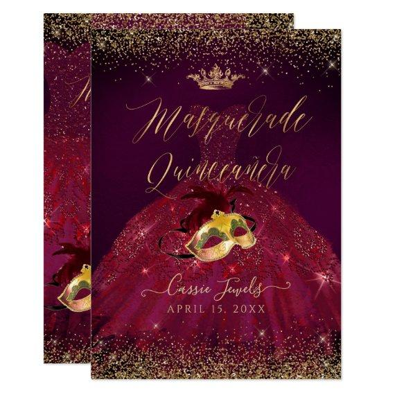 PixDezines Masquerade Burgundy Gold