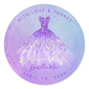 PixDezines Purple+Violet Gown Classic Round Sticker