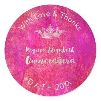 PixDezines Sweet 15/Silver Crown/DIY Thank You Classic Round Sticker
