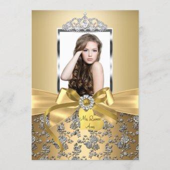 Pretty Gold Bow & Silver Rose Photo