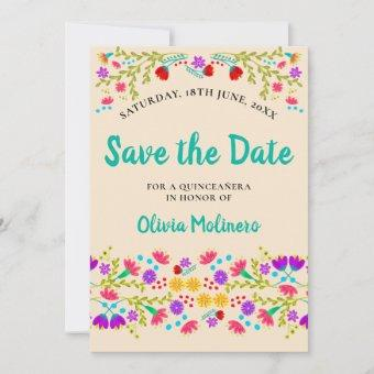 Pretty Mexican Fiesta Floral Champagne and Green Save The Date
