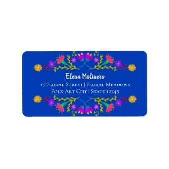 Pretty Mexican Fiesta Folk Art Royal Blue Address Label