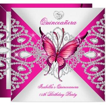 Pretty Pink Butterfly Tiara 15th Party