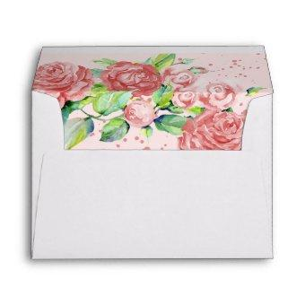 Pretty Pink Roses Floral Watercolor Return Address Envelope