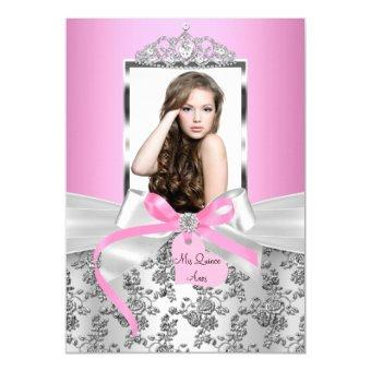 Pretty Pink Silver Bow & Rose Photo