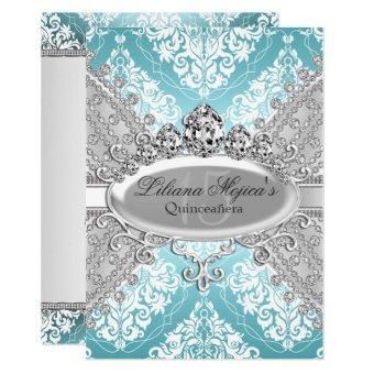 Pretty Silver Blue Damask & Tiara