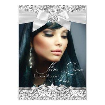 Pretty Silver Glitter Bow Photo Invite
