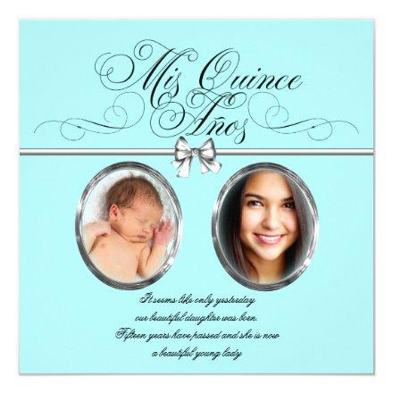 Pretty Teal Blue Photo Quinceanera Invitations
