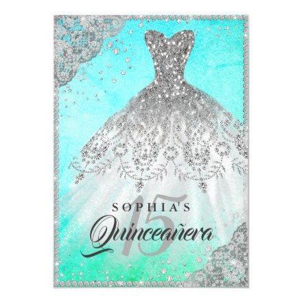Pretty Teal Diamond Lace Sparkle Gown