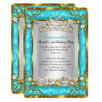 Princess 15th Birthday Teal Damask