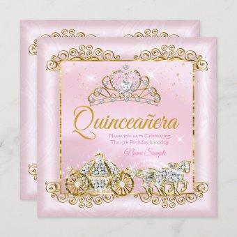 Princess Quinceañera Blush Pink Gold carriage