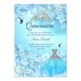 Princess cinderella blue floral dress