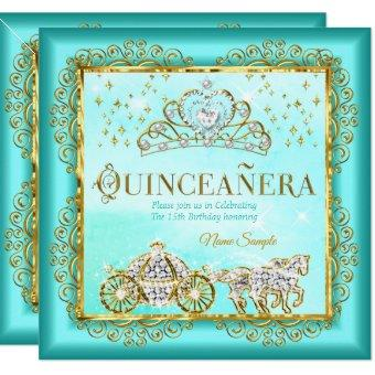 Princess Quinceañera magical Teal Blue Gold