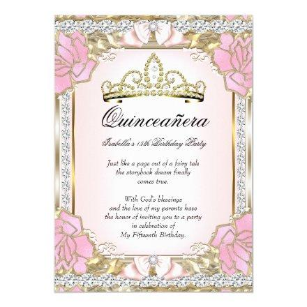 Princess Quinceanera Pink Gold 15th Birthday 2 Invitations