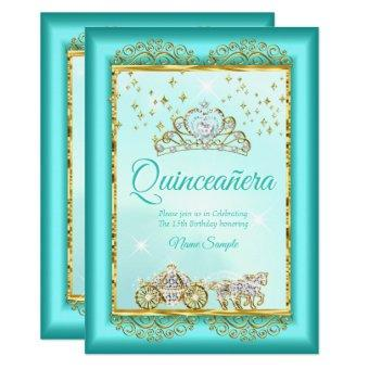 Princess Quinceañera Teal Blue Gold fairytale