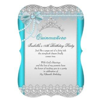 Princess Teal Blue Lace Pearl Tiara