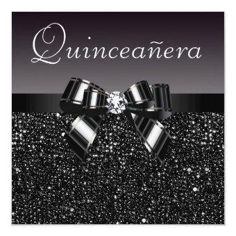 Printed Black Sequins, Bow & Diamond