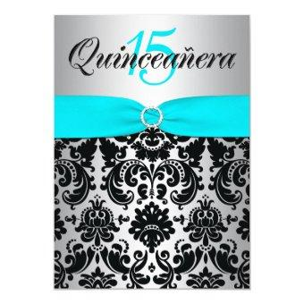 PRINTED RIBBON Aqua Silver Black