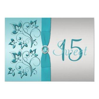 PRINTED RIBBON Aqua, Silver Invite