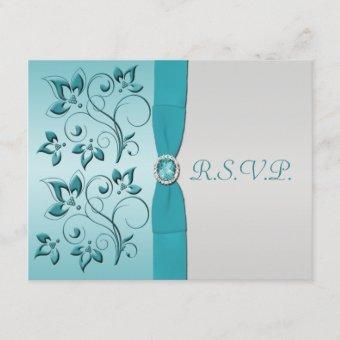 PRINTED RIBBON Aqua, Silver Quinceanera RSVP Card