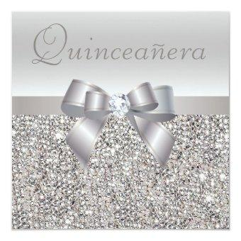 Printed Silver Sequins, Bow & Diamond