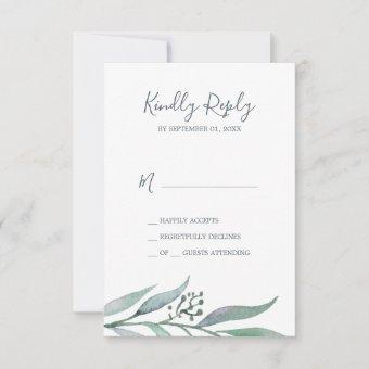 Purple and Green Eucalyptus Simple RSVP Card