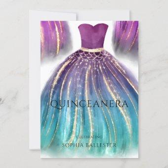 Purple Aqua Teal Ombre Mermaid Dress