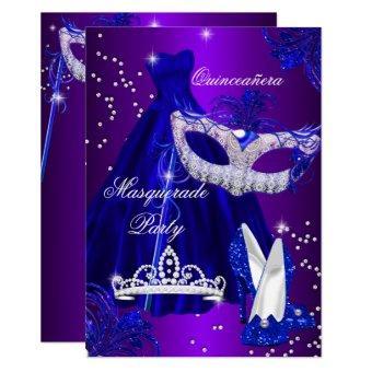 Purple & Blue Dress masquerade Invite