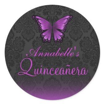 Purple Butterfly & Damask Quinceañera Sticker